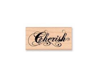 CHERISH-wood Mounted Rubber Stamp (mcrs 26-12)
