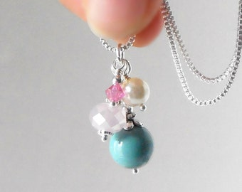 Aqua and Pink Bead Cluster Necklace, Pearl and Crystal Beaded Pendant, Bridesmaid Jewelry Gift, Wedding Set, Sterling Silver Chain, Handmade