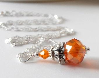 Orange Crystal Necklace Orange Bridesmaid Jewelry Wedding Jewelry Sets Beaded Pendant Necklace Orange Necklaces Bridesmaid Gift Idea Silver