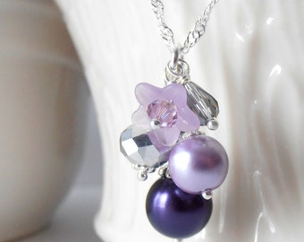 Purple Bead Cluster Necklace, Purple Bridesmaid Necklace, Pearl Cluster Flower Jewelry, Sterling Silver Chain, Bridesmaid Gift, Jewelry Sets