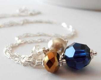Dark Blue Bridesmaid Necklaces Blue and Brown Bead Cluster Necklace Crystal and Pearl Wedding Jewelry Sets Navy Bridesmaid Gift Ideas