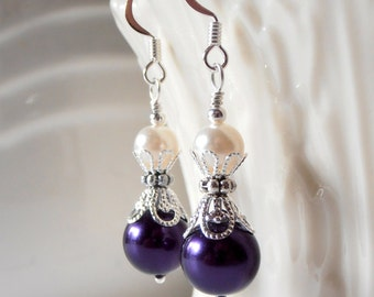 Dark Purple Earrings Pearl Dangle Earrings Pearl and Cream in Silver Filigree Bridesmaid Earrings Beaded Earrings Eggplant Wedding Sets