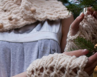 Hand Knit Chunky Lace Fingerless Gloves Knitted Textured Wrist Warmers Winter Christmas Xmas Fashion in natural cream or CHOOSE YOUR COLOR