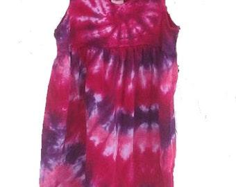 Tie Dyed Fuchsia, Hot Pink and Deep Purple Spiral  Girl's  Empire Waist Sun Dress/Jumper/Tunic