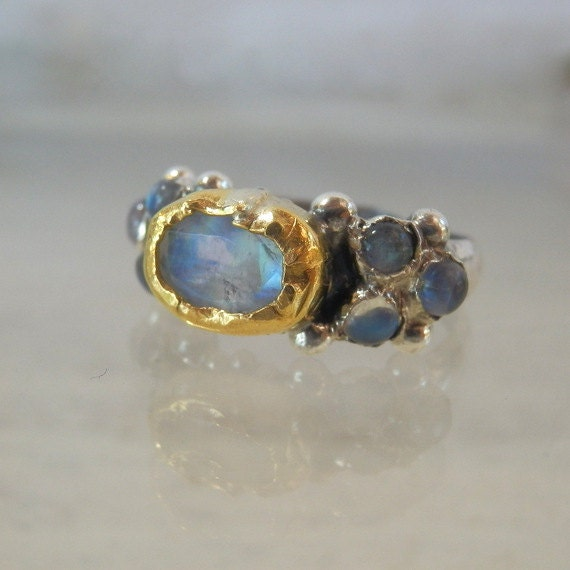 Moonstone engagement ring 24k solid gold and by yifatbareket for 24k gold wedding ring