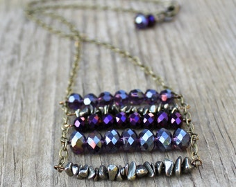 Crystal Necklace, Crystal Jewelry, Ladder Chain Necklace, Pyrite Jewelry, Purple Jewelry, Brass Chain Necklace, Purple Necklace