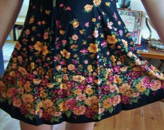 80s Dress, Floral dress, Black floral dress, short black dress, short sleeve dress, size S