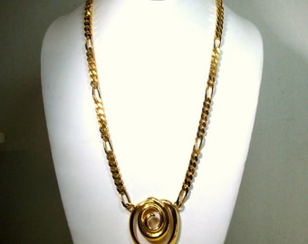 SALE, NAPIER Shiny Gold Spiral Necklace on Flat Gold I.D 1950s .Style Chain, 1980s Immaculate Signed Sample