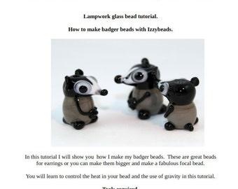 Badger Lampwork glass bead tutorial by Laney Mead - Izzybeads - instant download sculptural bead making