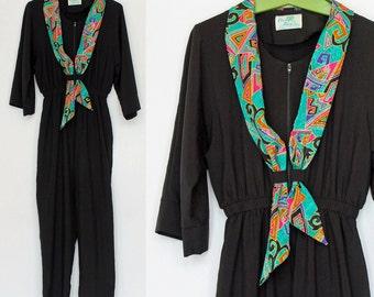 80's / 90's Zip Front Jumpsuit / Black  / Elastic Waist / Bright Print Scarf / Small to Medium