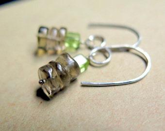 peridot earrings. smoky quartz jewelry. small dangle earrings in sterling silver