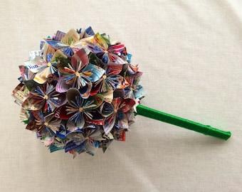Custom Disney Park Map Paper Flower Wedding Bouquet - Made to Order