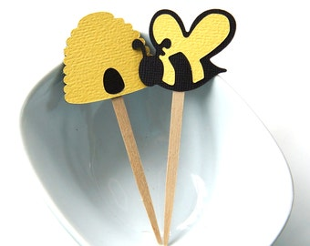 12 Bumble Bee & Bee Hive Cupcake Toppers, Party Picks or Skewers