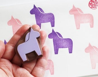 dala horse stamp, horse hand carved stamp, farm animal stamp, birthday scrapbooking, diy baby shower favor bags, holiday crafts, no2