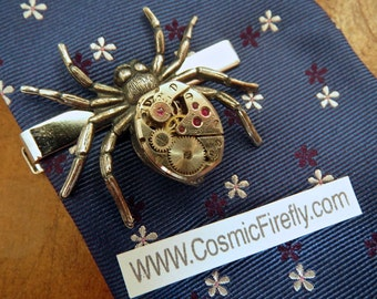 Steampunk Tie Clip Steampunk Spider Tie Clip Vintage Watch Movement Silver Tie Bar Gothic Victorian Men's Tie Clip Gifts For Him