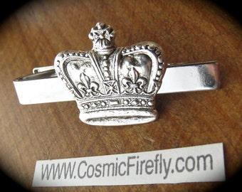 Silver Crown Tie Clip Men's Tie Clip Steampunk Tie Clip Royal Crown Silver Tie Clip From Cosmic Firefly
