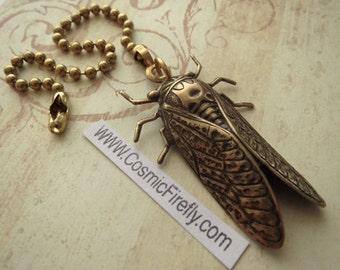 Brass Cicada Fan Pull Steampunk Ceiling Fan Pull Chain Antiqued Brass Metal Fan Pull Insect Bug Entomology Cosmic Firefly Fan Pull New