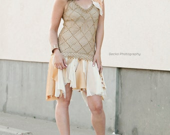 upcycled clothing, upcycled fashion, wearable art, romantic tattered dress . as told by ginger . XS - S