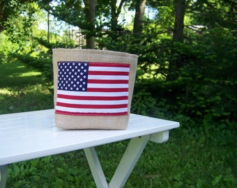 free shipping - american flag basket - burlap - fourth of july - decoration - july 4th - burlap basket - patriotic - americana