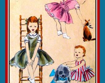 Vintage 1957 -Darling Chic-Dress--Blouse-Ruffled Petticoat-Vogue Sewing Pattern-Elongated Bodice-Side Tie Belt-Twirl Skirt-Size 6-Mega Rare
