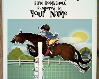 Bay Hunter Jumper Horse Stall Sign with up to four lines of personalization.