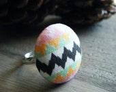 RESERVED FOR RUTH. Aztec Geometric Print Fabric Button Ring. Black White Green Pink Orange Button Ring.