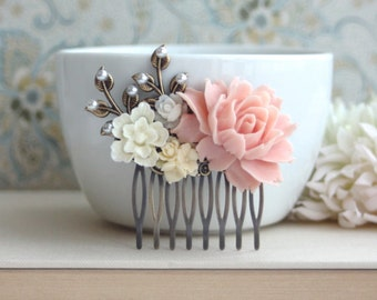 Pink and Ivory Wedding Comb. Pink Rose, Ivory, White, Pearl, Brass Leaf Flower Hair Comb. Bridesmaids Gift, Bridal. Pink Rustic Wedding. Sis