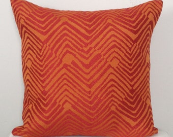 Orange Decorative Pillow Cover - Orange and Red Modern Pillow - Orange Chevron Pillow - Orange Geometric Pillow