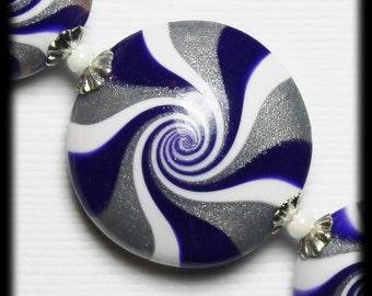 RazzMaTazz... Handmade Polymer Clay Beads Set Purple Violet White Silver Bead Caps Swirl Spiral Jewelry Supplies Sparkly Glittery Metallic