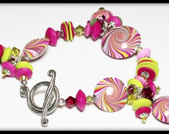 Juicyfruit... Handmade Jewelry Bracelet Beaded Cha Cha Polymer Clay Crystal Swirl Spiral Silver Fuchsia Hot Pink Lime Green Olive Summer