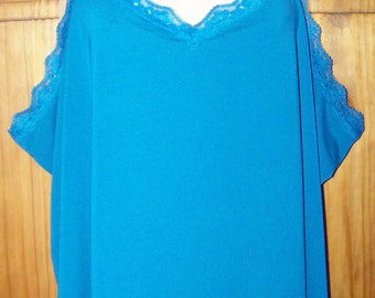 Plus Size 4X Tank, Stretchy Blue Camisole