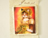 Cat Magnet Calico Wearing Regency Dress, Chrysanthemum Fridge Magnet