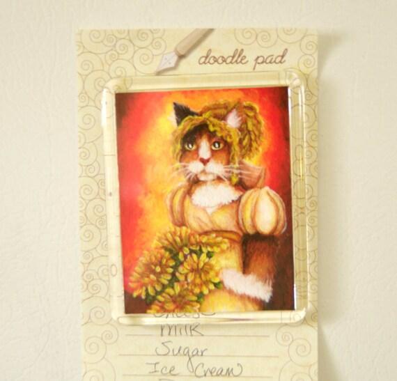 Cat Magnet Calico Wearing Regency Dress, Chrysanthemum Fridge Magnet