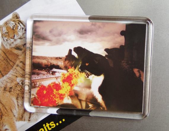 Dragon Cat Magnet, Fire Breathing Tuxedo Cat Art Fridge Magnet