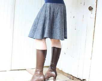 Organic Denim Panel Circle Skirt - Hemp and Organic Cotton - Made to Order