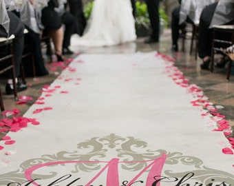 Aisle Runner, Wedding Aisle Runner, Custom Aisle Runner with Damask //Quality Fabric Aisle Runner that Won't Rip or Tear
