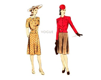 1940s Suit Dress Pattern Vogue 9727, Peplum Jacket Blouse, Flared Bias Skirt, Bust 32, Vintage Easy Sewing Pattern