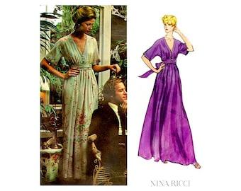 70s Nina Ricci Evening Dress Pattern Vogue Paris Original 2886, Loose Fit, V Neck, A Line Slip, Bust 32 1/2 Vintage Pattern