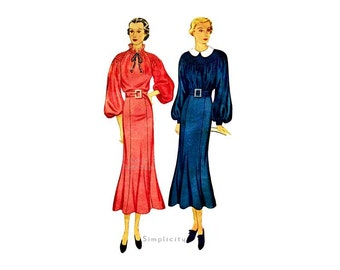 1930s Dress Pattern Simplicity 1828, Peasant Neckline Shirred Dress with Six Gore Skirt, Raglan or Bishop Sleeves, Bust 36