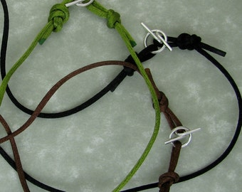 jewelry cord silken rat tail black brown or green with handmade argentium sterling silver toggle clasp DTPD