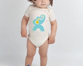Elephant Baby One Piece, Bodysuit, Organic, Size 3-6 mo