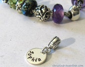 Christmas Special - European Style Bracelet Charm - Custom Personalized Hand Stamped Bracelet Charm
