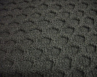Grey Heather Honeycomb Afghan