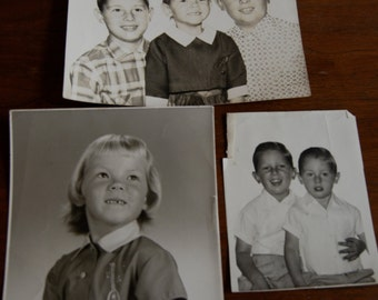 Vintage Grouping of Children Black and White Photographs