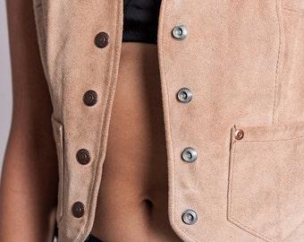 The Tan Beige Vintage Rancher Suede Vest