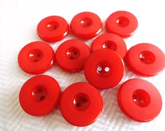 Cherry Red Vintage Buttons - 6 Mid Century French Plastic 19mm 3/4 inch for Jewelry Beads Sewing Knitting