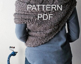 PATTERN PDF - Pattern for DIY District 12 Cowl Wrap - Easy Knitting Pattern - customizable sizes