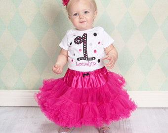 Personalized Girls Birthday Shirt with Polka Dots