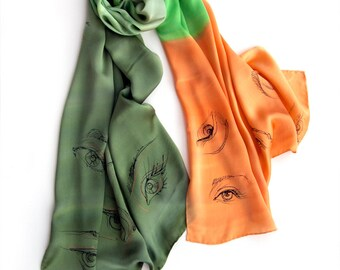 Hand painted silk satin shawl. Silk scarf Pop Art. Olive green orange scarf Painted scarf with eyes Long summer shawl. Luxury scarves shawls