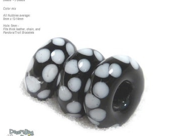 NUBBIES  82 Lampwork Bead Handmade BIG HOLE White Black Polka Dot  Beads  -- fits 5mm leather and  Euro-Style